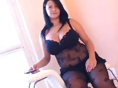 Fat girl in arousing black lingerie porn tube video