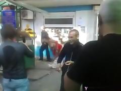 Fucked up russian slut goes naked in public and the guys cheer for her