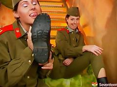 Female army officers have a steamy & hot lesbian affair tube porn video