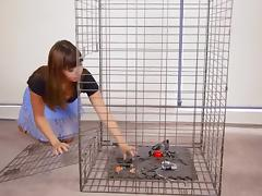Self-Bondage In A Cage