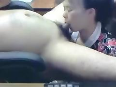 Ponytail, Asian, Blowjob, Couple, Office, Pigtail