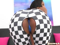 Bigass ebony Lola slammed on couch