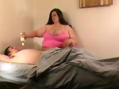Fat girl with huge tits massages her man and fucks him porn tube video