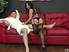 Cum hungry Cindy Starfall fucks him and lets him cum in her mouth tube porn video