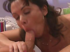Hot chick with big natural boobs lets the man touch her smooth body