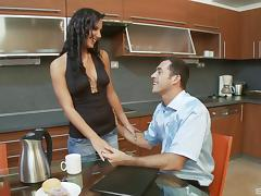 Captivating Nataly rides her lover's sausage in the kitchen porn tube video