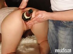 Huge double fisting and bottle insertions tube porn video
