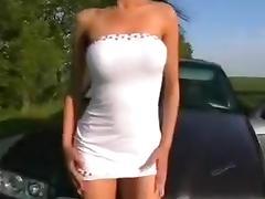 Amateur Slut Bent Over Boyfriend's Car Hood