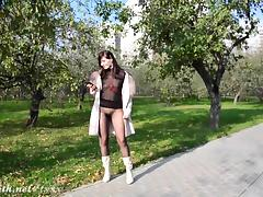 Jeny Smith wears see through pantyhose suit in the city
