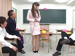 Teacher on a leash stripped and fucked by a group of guys tube porn video