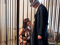 Classy MILF with big tits wears stockings while getting fucked