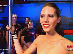 Skinny jizz loving German redhead ends up drenched in cum tube porn video