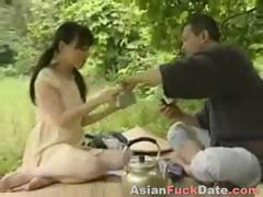 Horny Chinese husband and wife duo get frisky in the woods tube porn video