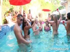 Babes having fun with strippers in pool