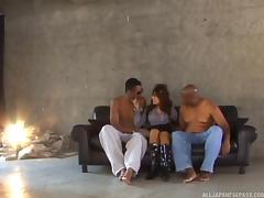 Japanese beauty and two black guys have a hot threesome