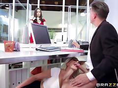 Smoking hot blonde secretary Gigi Allens fucks the boss porn tube video