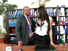 What an incredible office sex action along a cute dame in stockings and glasses porn tube video