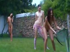 Russian chicks watersports in the grass tube porn video