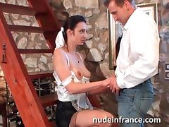 French maid gets her ass filled with cock and fruits porn tube video
