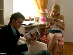 After reading tutoring he plows this hot blonde in the ass