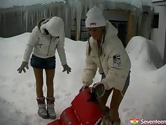 Have you ever fucked outdoors during winter season,check out this alluring teen