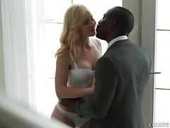 Black businessman keeps a white girl as his personal fuck toy porn tube video