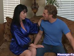 He gets to fondle the big oiled up tits of this hot milf