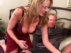 Stimulating pair of babes are here to make his cock explode!