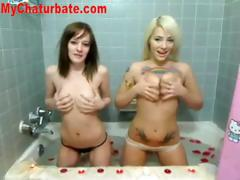 Two Hot Teens Play In The Bathtub On Cam tube porn video