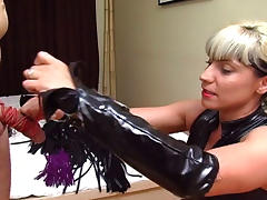 Naughty Dominatrix Punishes Her Male Sub