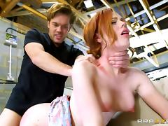 Pale skinned redhead hottie with small tits gets a facial