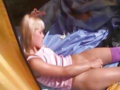 21yo teenie Loly jerking off in a tent