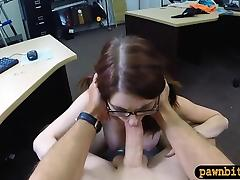 Slut in glasses pounded by horny pawn dude at the pawnshop