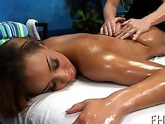 Dildo and ramrod are permeating deep inside of her wet holes