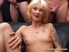 skinny tattooed MILF wild gang banged porn tube video
