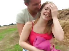 Cute girl next door takes a guy for a picnic and ends up fucking tube porn video