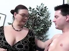 Mom and Boy, Big Cock, Big Tits, Blowjob, Boobs, Brunette