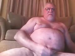 grandpa has a long stroke on cam