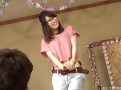 Nerdy Asian cutie fingers her pussy while a guy watches her