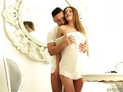 Euro beauty with gorgeous fake boobs fucked anally porn tube video
