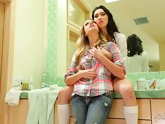 Early morning sex in the bathroom between lesbian babes tube porn video