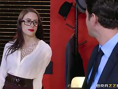 Secretary beauty strips and bends over the desk for dick