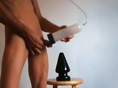 huge black dildo and shaved pumped cock play