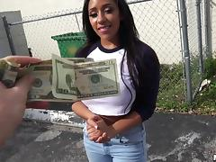 Ebony slut paid to flash her tits and fuck hardcore in public