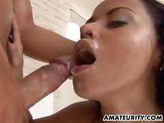 Amateur Latina girlfriend homemade action with facial