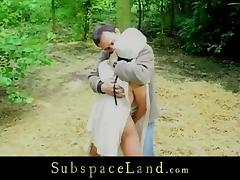 Slave whipped in the woods and fingered in the basement tube porn video
