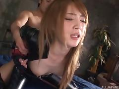 Leather wearing Japanese babe is unzipped, licked and fucked porn tube video