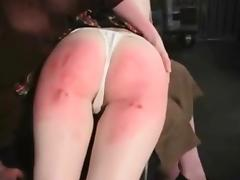 Spankingred ass beat with different tools