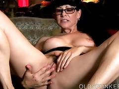 Sexy old spunker thinks of you as she fucks her juicy pussy porn tube video