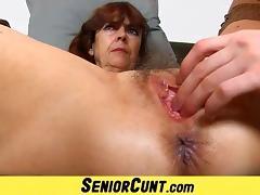 Hairy old pussy of grandma Lada on close-ups